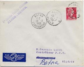 1956, 29.Feb., Erstflug-Lp.-Bf.m. EF. ALGER R.P. ALGER(Handstpl.) nach BATNA CONSTANTIN...