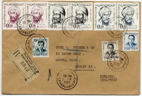 1963, 2.Jun., R-Bf.m. MiF. CASABLANCA PPAL(Handstpl.) nach Irland. Sonntags gestempelt! ...