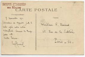 1912, 9.Nov., unfrank. Ans.-Kte. TRÉSOR ET POSTE *96*(Handstpl.) nach Frankreich. Porto:...