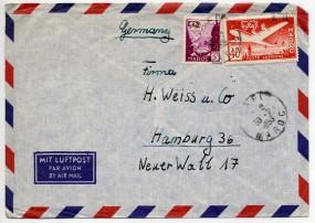 1953, 30.Jul., Lp.-Bf.m. MiF. SAFI(Handstpl.) nach Westdeutschland. Porto: 45 F.