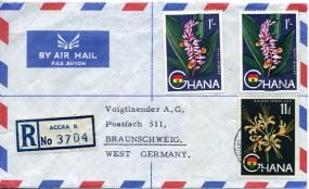 1965, 21.Jan., R-Lp.-Bf.m. MiF. REGISTERED ACCRA(Handstpl.) nach Westdeutschland. Porto:...
