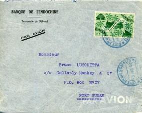1949, 3.Jun., Lp.-Bf.m. EF. COTE FSE. DES SOMALIS DJIBOUTI(bl. Handstpl.) über KHARTOUM...