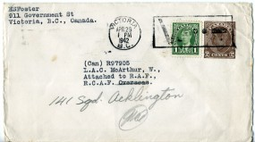 1942, 29.Apr., 2¢-GA-Umschlag m. Zus.-Frankatur. VICTORIA B.C. - V..-(Masch.-Stpl.) nach...