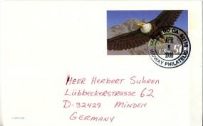 1996, 5.Apr., 50¢-GA-Kte. SAN DIEGO CA 92110 MIDWAY PHILATELIC(Handstpl.) nach Deutschla...